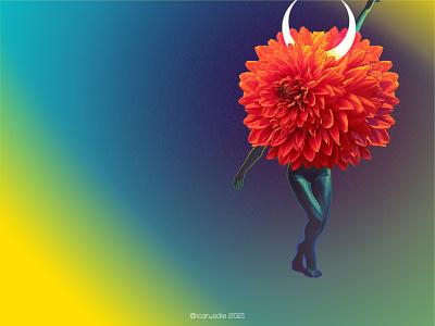 Get Rich with some gradients. branding photoshop illustration design digital collage surreal collage digital art nft dance witch flower yellow gradient guatemala gt icarosdie