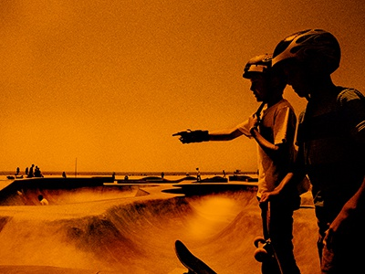 hot stuff photoshop experimental film grain texture skateboards venice beach california photography