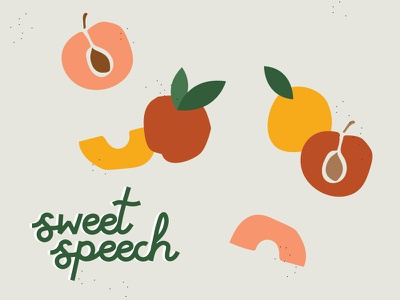 Sweet Speech illustration peach sweet speech logo design branding design branding brand identity logo brand design