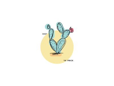 Prickly color prickly cactus doodle