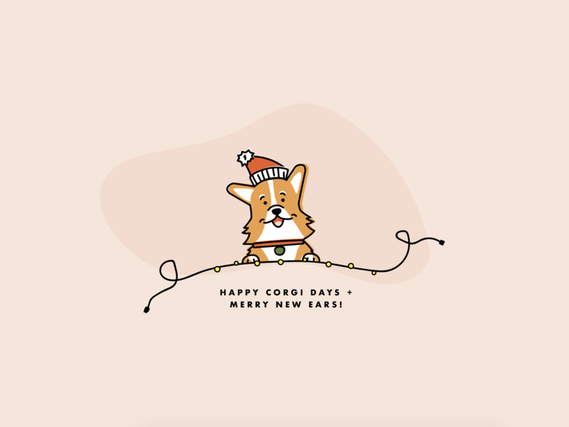 Happy Corgi Days corgi illustration dog illustration holiday lights 2018 christmas holiday dog corgi fun illustration pink design vector