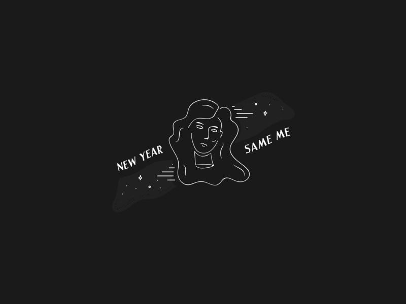 New Year, Same Me portrait art black  white black line art face 2019 new year same me illustration design vector