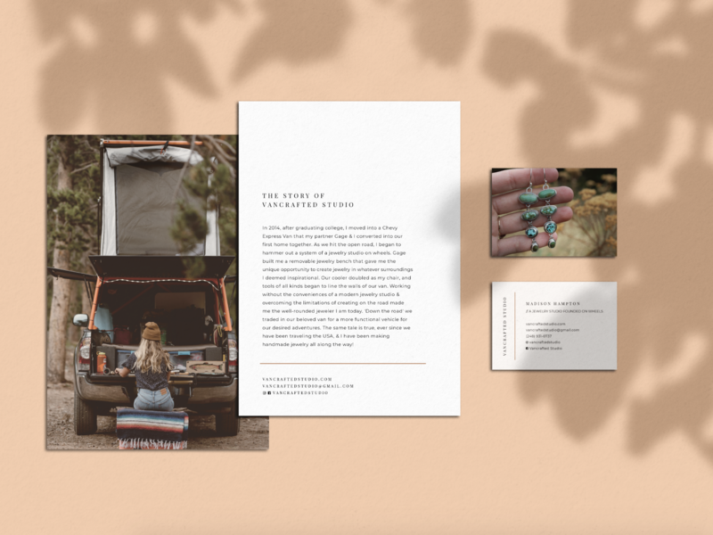 Vancrafted Studio redesign rebrand mockup jewelery peach print layout postcard business card stationary design
