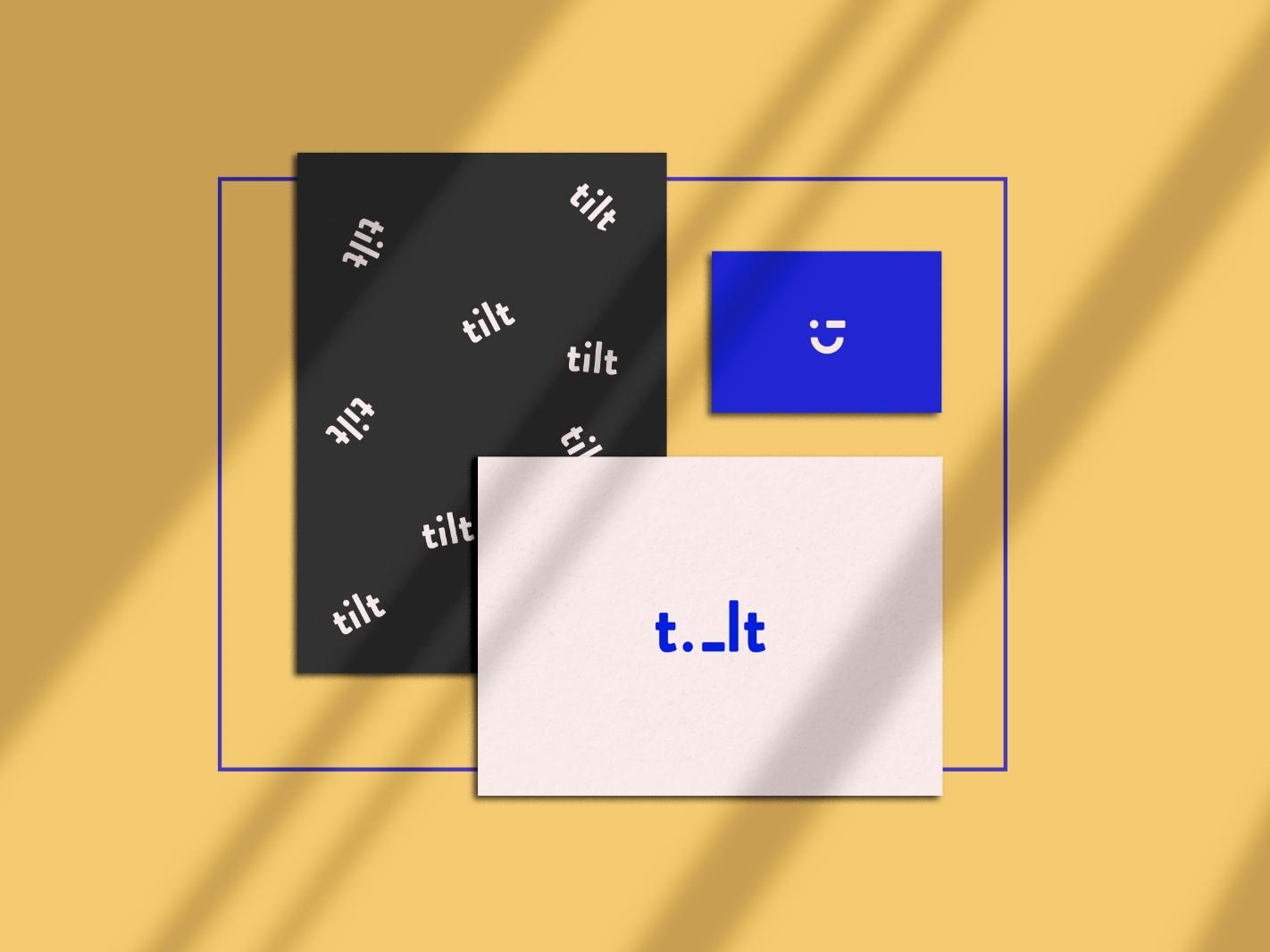 TiLT pink blue yellow wip mockup tilt branding identity logo design