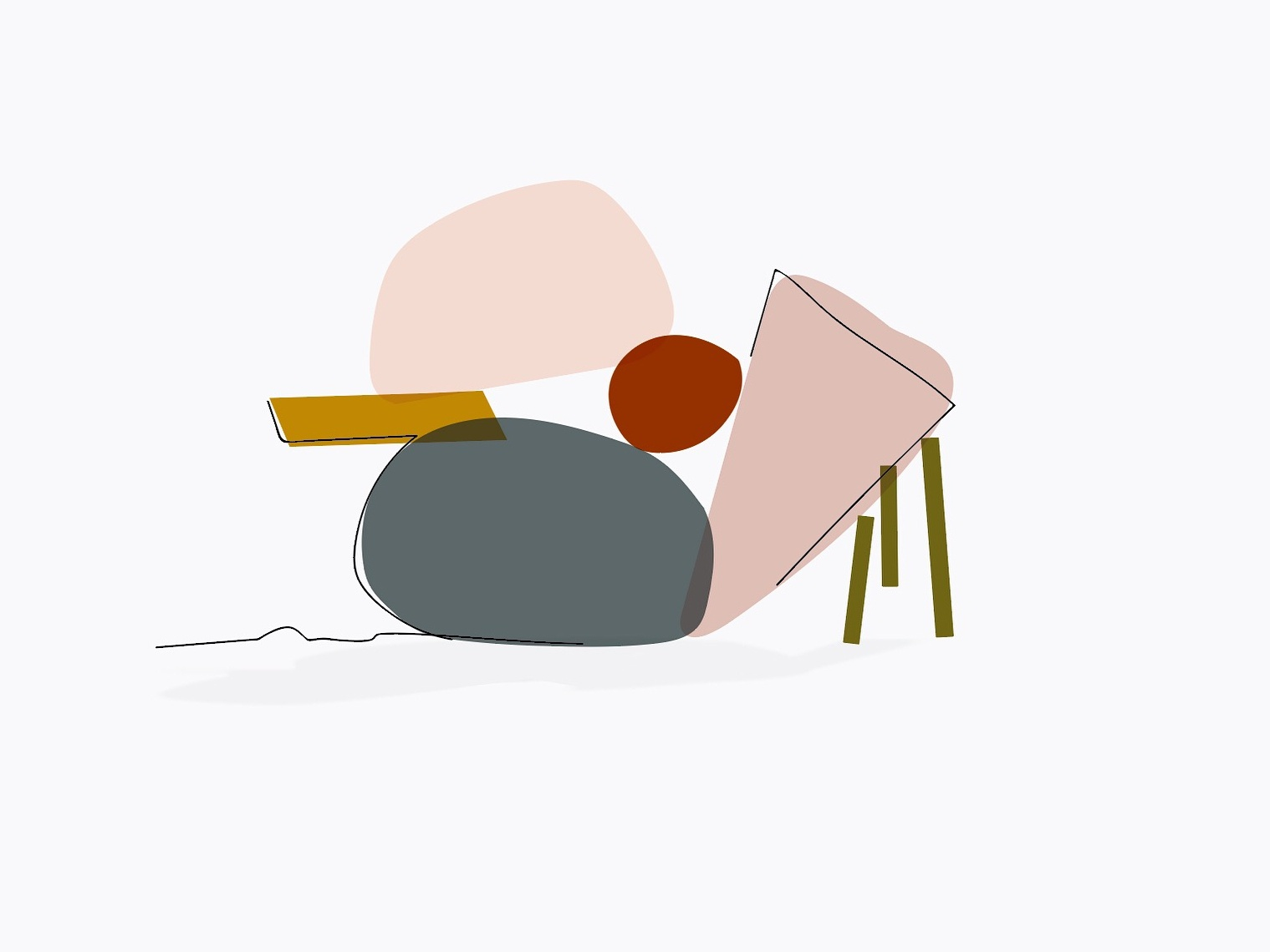 Stable? flat illustraion abstract shape line shadow balance overlay color cairn doodle illustration design vector