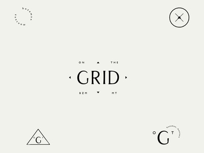 On The Grid logo design thin lines circle triangle shape simple minimal tan modern organic trend mark dropped idenntity logo branding design