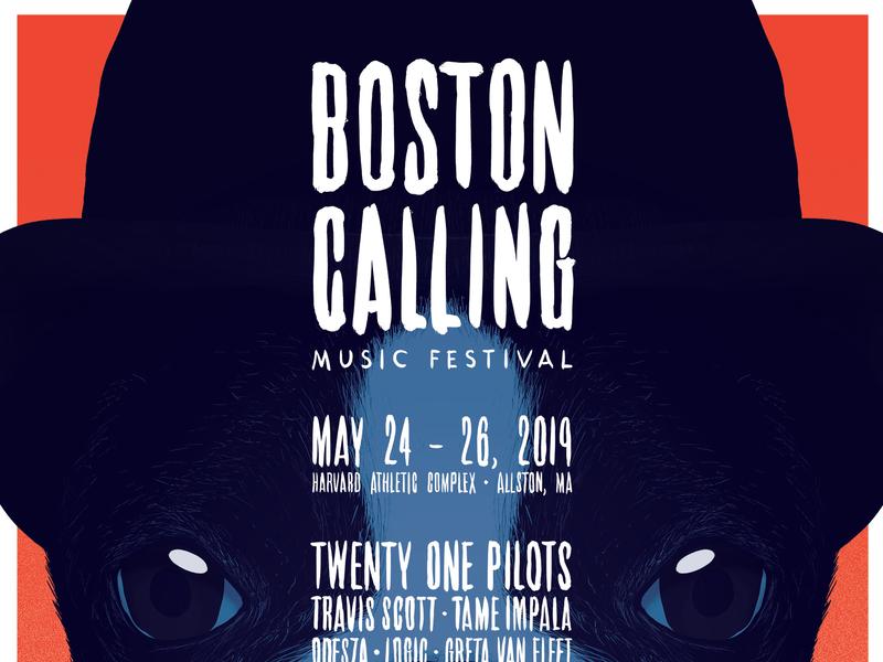 BOSTON CALLING 2019 Poster script typography portrait massachusetts boston terrier dog print festival music poster illustration design