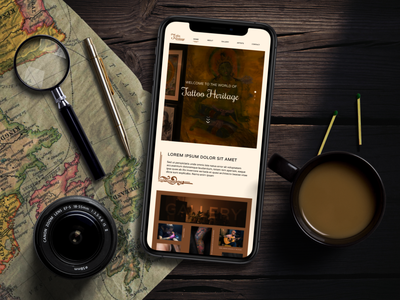 Mobile App Design for Tattoo Parlour magnify browns coffee mobile tattoo artist artistic tattoo design brown photoshop vintage heritage tatto parlor tattoo gallery photo typography branding ui ux design