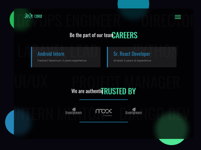 Career Section UI Dark theme responsive redesign vacancy developer menu shape blur glassmorphism dark mode company trust career job kathmandu dark ui nepal website design ux ui