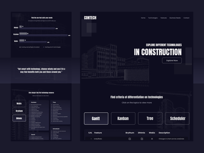 Construction Technology webdesign kathmandu technical technology constructor dark mode dark typography branding nepal website design ux ui