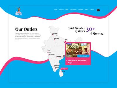 Twisting Scoops Card Location Re-design branding food eat desserts cream scoops ice-cream website nepal ux ui design