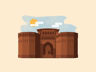 Mozilla India Meetup 2016 - Artwork brush paint heritage sun cloud monument illustration pune shaniwar wada india mozilla