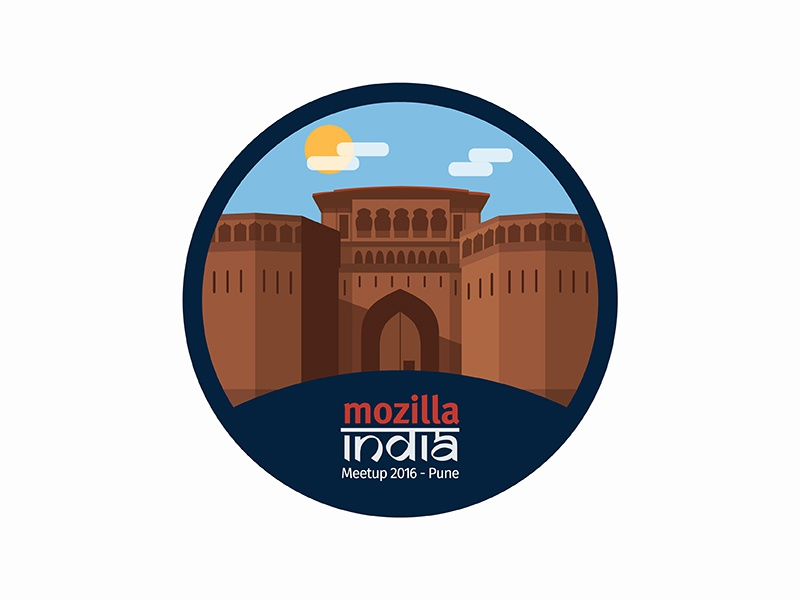 Mozilla India Meetup 2016 - Sticker mozilla india shaniwar wada pune illustration monument cloud sun heritage paint brush sticker