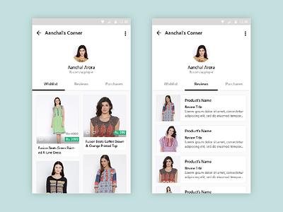 Shopasm - Profile Pages tinder clothing fashion interface card ux design interaction ui shopasm