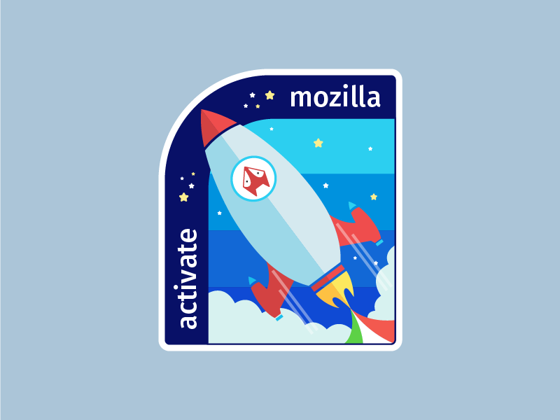 Activate Mozilla Sticker campaign cloud fox rocket sticker mule sticker illustration activate mozilla india mozilla