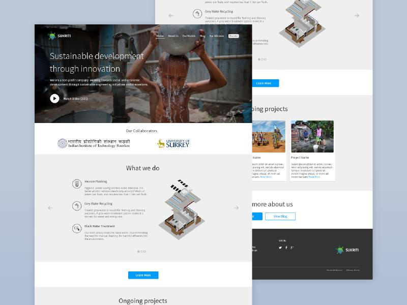 Sukriti NGO Website sanitation water interface ui website landing homepage ngo