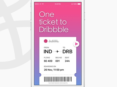 One Dribbble Invite Up for Grab!! ios ui player travel boarding pass ticket dribbble invite