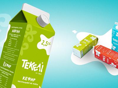 Branding, packaging design, web design, SMM for Tekeli flat food logo branding milk products milk