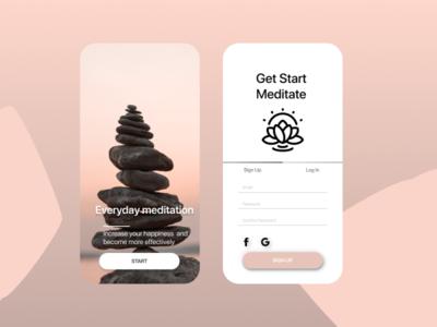 UI daily #001       Sign Up/Регистрация login design meditation app signup