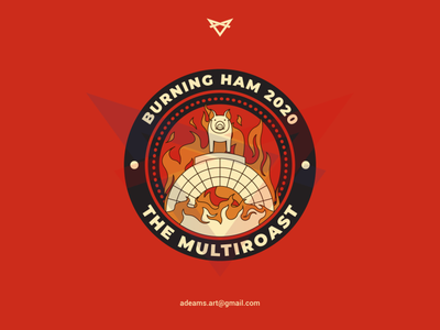 Burning Ham 2020 tshirt design event branding vector sticker design sticker lineart barbecue bbq cooking restaurant logo badge design line art illustration monoline
