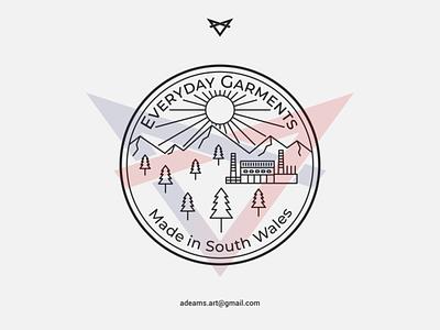 Everyday Garments simple logo garment tshirt design lineart blackandwhite minimalist sticker badge design illustration monoline vector line art