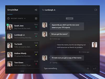 Simple Chat UI minimal clean dark web app ui chat