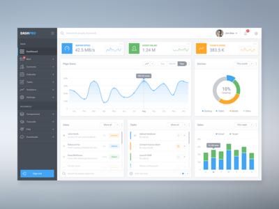 DashPro - Dashboard UI admin chart white light widget graph ui dashboard