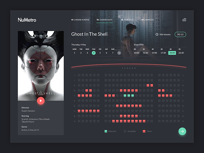 Cinema Booking concept dark web ux flat design ghost in the shell booking movie cinema dashboard ui