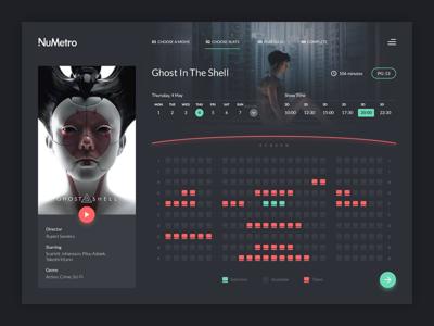 Cinema Booking concept dark web ux flat design ghost in the shell booking movie cinema dashboard ui