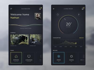 Smart Home App clean dark iphone mobile ios smart home flat ux app ui design