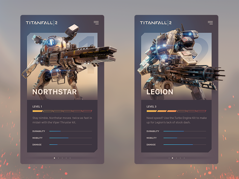 Card Exploration - Titanfall 2 ux design titanfall game mobile cards app ui