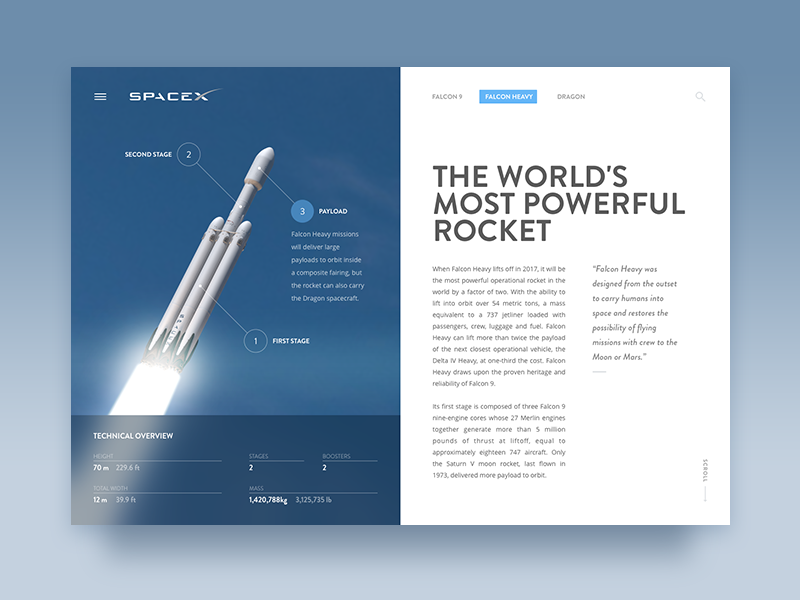 SpaceX - Editorial Article Layout spacex flat sketch layout article editorial web card design ux ui