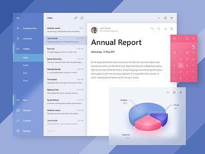 Microsoft Fluent Design ui mail microsoft windows app design fluent email ux light transparent