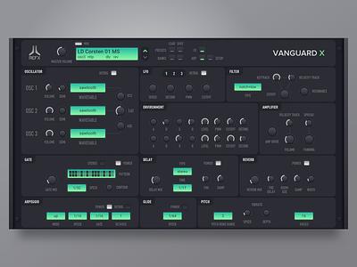 Vanguard X dashboard synthesizer instrument virtual plugin app vst design ui