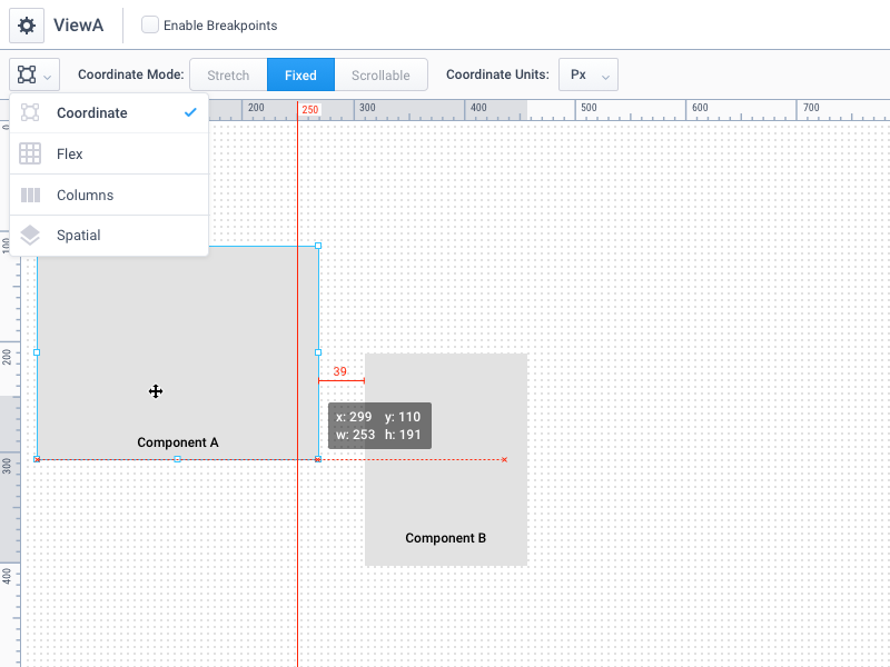 Designing a Designer.  toolbar controls grid sketch rulers ui design guides artboard designer ui