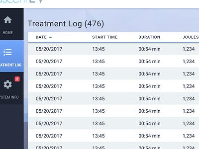 Medical Treatment Log sort ui interface dashboard logs data table medical tablet