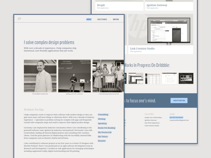 Updated Portfolio Website – 2018 redesign refresh resume ui web design wordpress website semplice product designer personal case study case studies