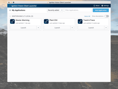 Ignition Desktop Launchers industrial automation crud manager desktop web app data ui design dashboard interface ui