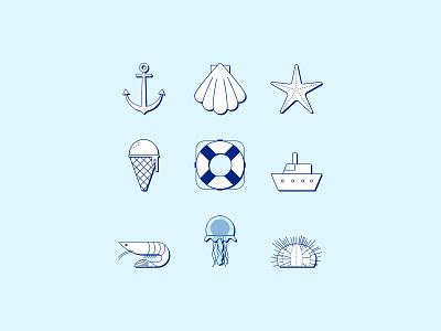 Sea themed icons sea vector icon