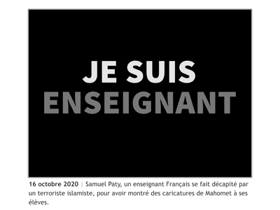 October 2020 jesuischarlie mahomet caricature charlie hebdo french samuelpaty islam islamophobia teacher 2020 design vector illustration