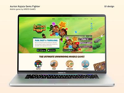 Landing page Aurion Kajuta Gems Fighter uxui video game website landing page branding graphic design ui