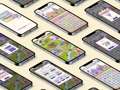 UI design: Happy little folks mobile gamedesign typography illustration illu game branding graphic design ui