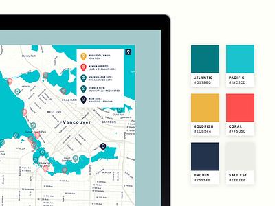 Great Canadian Shoreline Cleanup - Colour Palette  legend map digital ui branding shoreline scheme palette colour design
