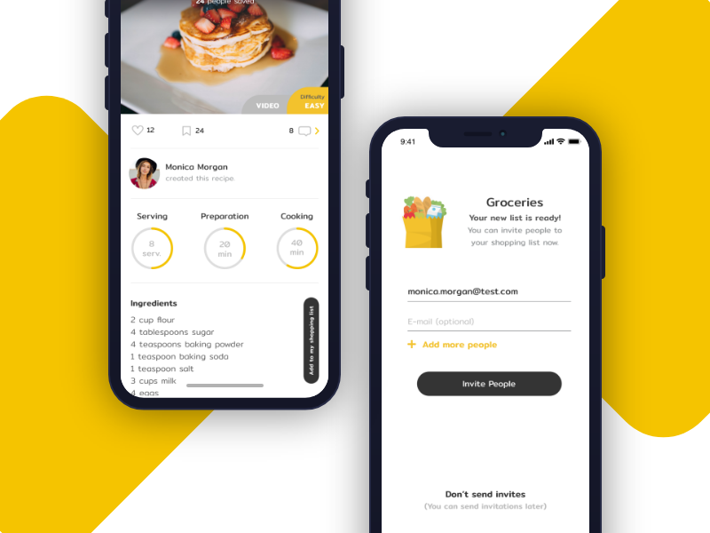 Recipes and Shopping List App recipe shopping app mobile android ios material interface ux ui
