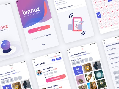 Binnaz Real Psychics redesign cards upload gradient purple psychic fortune ios ui app