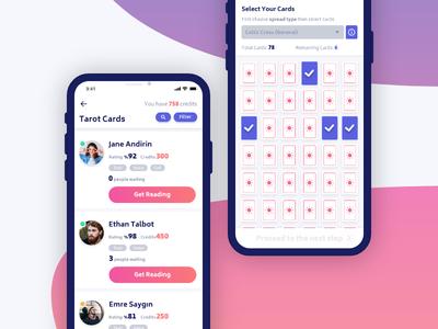 Binnaz Real Psychics upload ui redesign purple psychic ios gradient fortune cards app