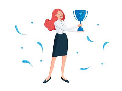 Be number one! best shot vectorillustrator characterdesign character office flatdesign flatillustration digitalart business vectordesign vector cup blue and white winner officeworker victory company