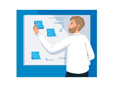 """Planning"" awesome best shot job planning board notes man vectorart vector illustration vector character illustration company intranet characterdesign blue and white office graphicdesign digitalart flatillustration"