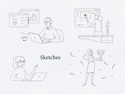 Sketches best shot steps working process workinprogress business office character design character icon design icon set icons lineart outline black  white illustraion process procreate digital sketch digital illustration sketch