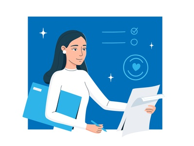 Contract blue and white girl office deal paper contact corporate flat girl character cool design illustration for web flat illustration cartoon illustration characterdesign character vectorart vector abstract minimalism awesome design